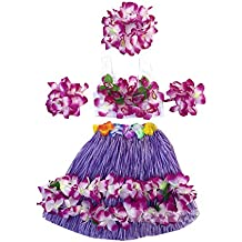 Kids Girl's Elastic Hawaiian Hula Dancer Grass Skirt with Top and Hawaiian Flower Costume Set