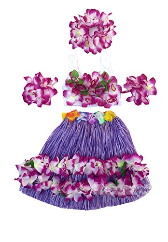 Kids Girl's Elastic Hawaiian Hula Dancer Grass Skirt with Top and Hawaiian Flower Costume Set (Purple)