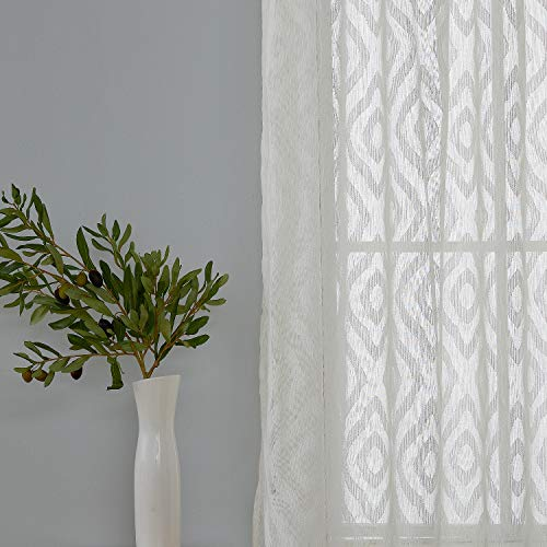 (Deconovo White Sheer Curtains Jacquard Rhombic Pattern Sheer Curtain Panels for Bedroom 52x95 Inch 2 Panels)