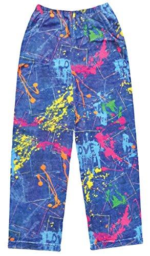 - iscream Big Girls Fun Print Silky Soft Plush Pants - Color War, Medium