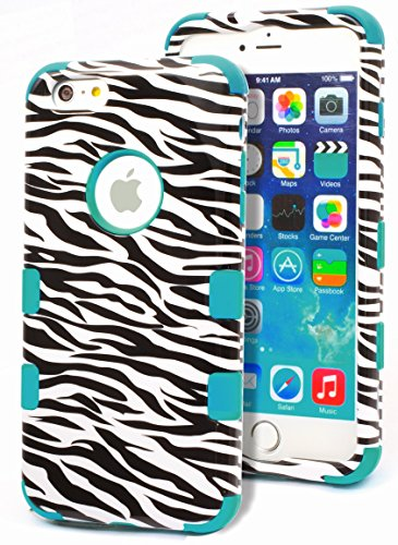 iPhone 6 Plus Case, Bastex Heavy Duty Hybrid Protective Case - Soft Teal Silicone Cover with Black and White Zebra Deasign Hard Case for Apple iPhone 6 Plus, 5.5