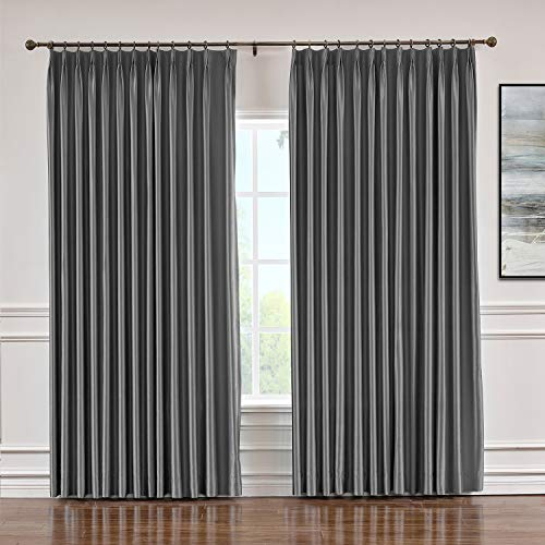 (Macochico Pinch Pleated Faux Silk Curtains with Interlining for Traverse Rod Blackout Silk Draperies Panels for Bedroom Meetingroom Living Room, Dark Grey 84