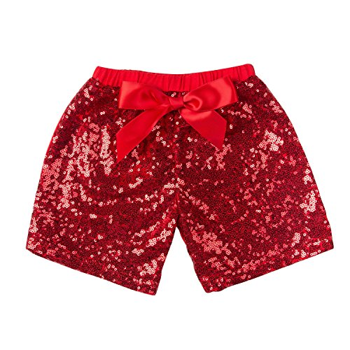 Messy Code Baby Girls Shorts Toddlers Short Sequin Pants Newborn Clothes with Bow Red L(2-3Y)