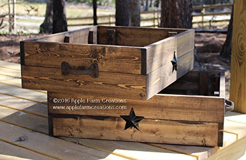 Rustic Wooden Box-Crate with Black Metal Barn Stars - Apple Crate Coffee Table