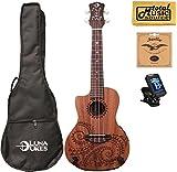 Luna Guitars A/E Concert Tattoo LEFTY w/Strings,Tuner & PC