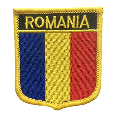 (Romania Flag Patch/Shield Badge Iron On Badge (Romanian Crest, 2.75