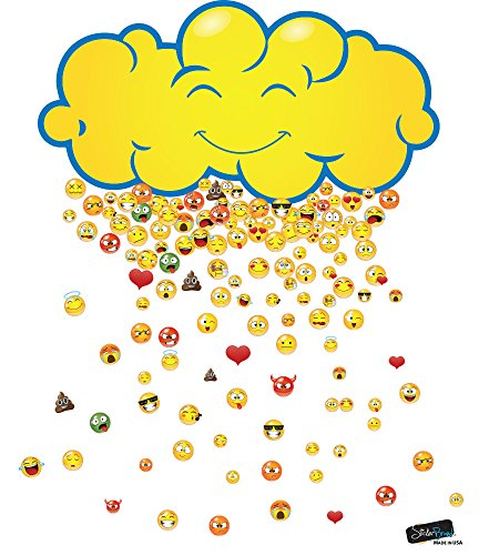 Happy Cloud Raining 200 Emojis Wall Decal Sticker by Stickerbrand. Great Party Favors. Make Rain Pattern for the Kid's Room. Reusable Smiley Emojis Similar To Iphone / Android Keyboard Icons. - On Sunglasses Puts Emoticon