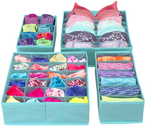 Sorbus Set of 4 Foldable Drawer Dividers, Storage Boxes, Closet Organizers, Under Bed Organizer (Aqua)