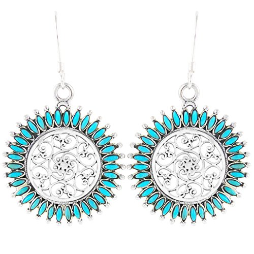 Floral Design Turquoise Earrings 925 Sterling Silver & Genuine Turquoise (Turquoise)