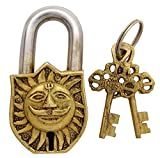 Sun Face and Om Antique Padlock Symbolic Figure Unique Collectible Locks and Keys