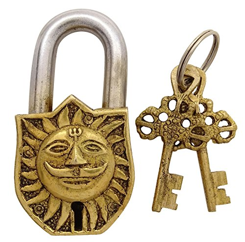 Sun Face and Om Antique Padlock Symbolic Figure Unique Collectible Locks and Keys by stylewise