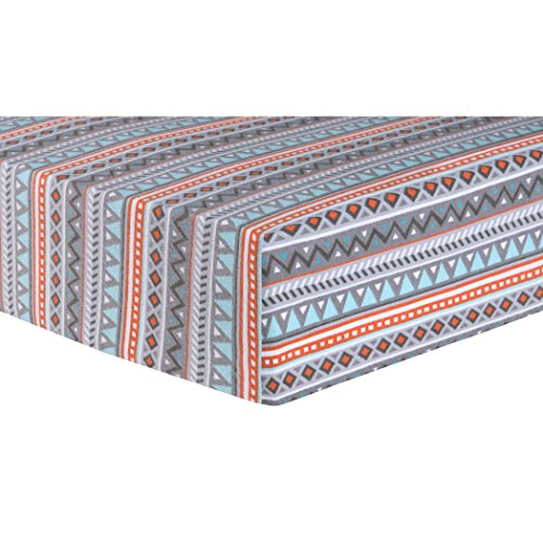 Moose Canoe (Trend Lab Aztec Deluxe Flannel Fitted Crib Sheet, Multi)