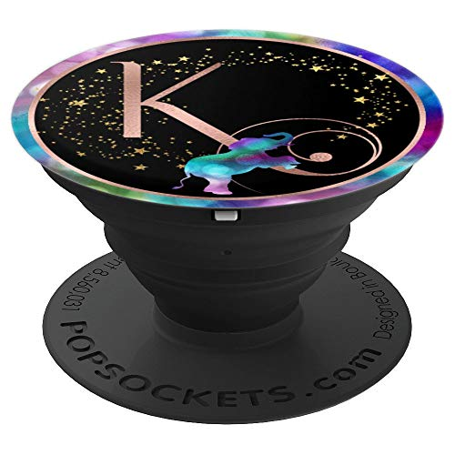 K Rose Gold Pop Socket Letter Initial - Rainbow Elephant - PopSockets Grip and Stand for Phones and Tablets ()