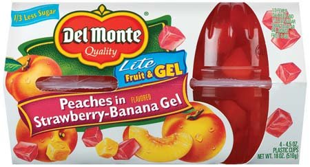 Del Monte Diced Peaches in Light Strawberry-Banana Gel 4 pk Fruit Cups 18 oz (Pack of 6)