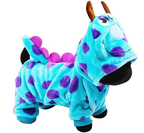 [Pets Winter Clothes Dragon Popodino Costume for Teddy Dogs Hoodies Coat Jacket With Hat for Small Medium Dogs Halloween Day Gifts Dotted Costume Apparel] (Dorothy Dog Costume Xl)