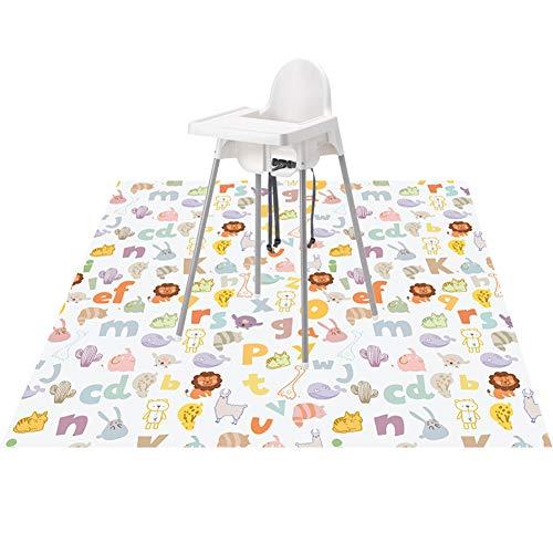 (Highchair Floor Mat, Baby Splat Mat for Under High Chair/Arts/Crafts, Womumon Waterproof Spill Mat Non-Slip Splash Mat, Washable Mess Mat and Table Cloth (Alphabet))