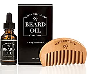 Suave Grooming Beard Oil & Beard Comb - the Best Conditioner Softener for Beard Care Beard Comb Kit Includes the Best Beard Oils to Promote Beard Growth, 1 oz Bottle