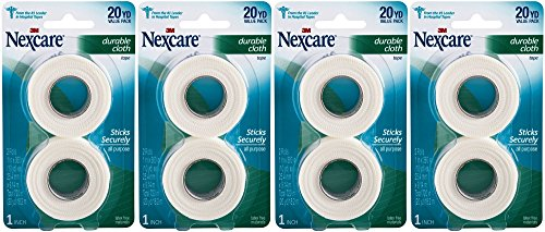 Nexcare Tape, Durable Cloth, Value Pack 2 , 1 Inch X 10 Yrds Each Roll, (Pack of 4) 80 Yards Total by 3M