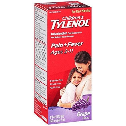 TYLENOL Children's Oral Suspension Grape Splash Flavor 4 oz (Pack of 2)