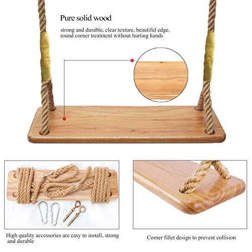 Wooden Tree Swing seat for Kids Outdoor Rope Swing Set 19.7 x 5.1 x 0.8 inch Hanging Kit Included Indoor Metal Accessories for Backyard Playground Porch Patio Garden Park or Home (4 Metal kit)