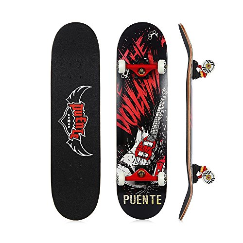 PUENTE 608 Skate Skateboards Complete with Ergonomic Mellow Concave, ABEC-9 BBS,95A Anti-Slip Smooth and Mute Wheel for Adults and Kids Beginners, 400lbs (Black) ()