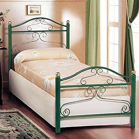 Letto singolo in ferro colore verde con finiture oro 90x200xH105 cm ...