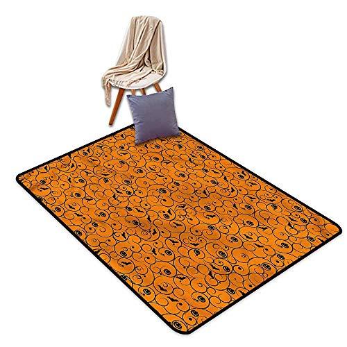 Classroom Rug,Halloween Swirls Bats and Pumpkins,Children Crawling Bedroom Rug,4'7