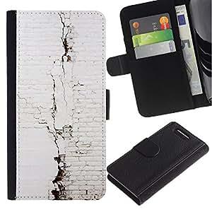 A-type (Brick Wall White Architecture) Colorida Impresión Funda Cuero Monedero Caja Bolsa Cubierta Caja Piel Card Slots Para Sony Xperia Z1 Compact / Z1 Mini (Not Z1) D5503