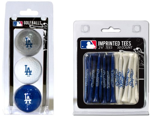 Team Golf MLB Los Angeles Dodgers Logo Imprinted Golf Balls (3 Count) & 2-3/4 Regulation Golf Tees (50 Count), Multi Colored