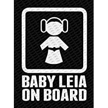 "Star Wars Inspired Baby Princess Leia On Board Die Cut Vinyl Decal Sticker (8"", Matte White)"