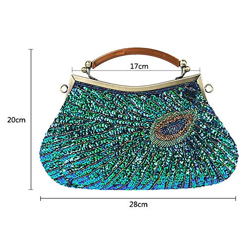 Handbag Ball Bags amp; Bag for Ladies Bridal Glitter Party Beads Exquisite Peacock Sequin Cluth Handmade Beaded Wedding Bag Evening Gold Vintage Fadirew Women pg14Zx