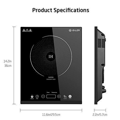 Portable Induction Cooktop, iSiLER 1800W Sensor Touch Electric Induction Cooker Cooktop with Kids Safety Lock, Countertop Burner Suitable for Cast Iron, Stainless Steel Cookware by iSiLER (Image #8)