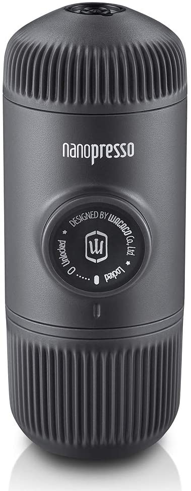 An image of a little coffee presser in cylindrical shape, matte black in color.