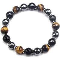 SPECIAL SALE !! Tigers Eye Extra Strength Energy Protection Bracelet Black Obsidian Hematite and Sterling Silver Prosperity Bracelet