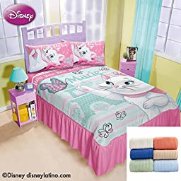 Disney Marie Paris 1-Pc Comforter Bedspread Twin Bundled with Cozy Cotton Blanket Full/Queen