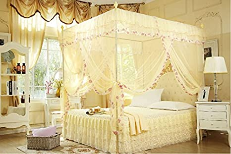 PORTABLE BED CANOPY MOSQUITO NET KING QUEEN SIZE WITH STEEL WROUGHT BRACKET