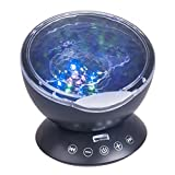 DuaFire Remote Control Ocean Wave Projector, 7 Colors Night Light with Built-in Mini Music Player for Baby Nursery,Living Room and Bedroom