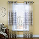 Common Wealth Home Fashions Onyx Sheer Curtain with Woven Horizontal Stripe, 54 x