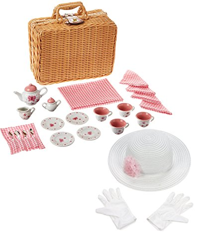Schylling Butterfly Basket Porcelain Tea Set with Fun Express Polyester Tea Party Hat and Gloves Set (Basket Express)