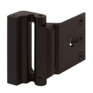 "Defender Security U 11126 Door Reinforcement Lock – Add Extra, High Security to Your Home and Prevent Unauthorized Entry – 3"" Stop, Aluminum Construction (Bronze Anodized Finish)"