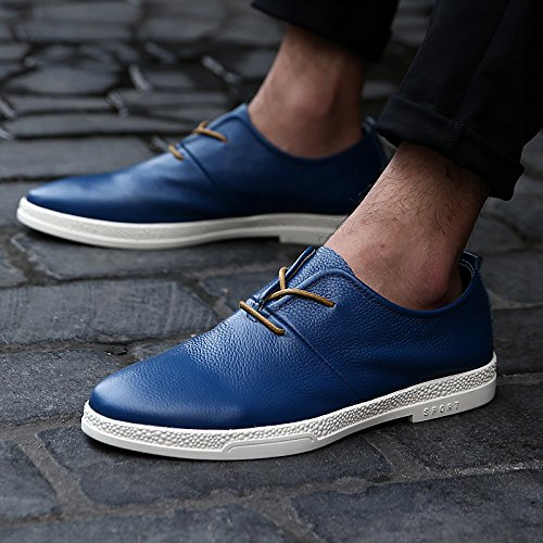 Abby 8096 Mens Dress Shoes Lace-up Fashion Casual Formale Da Sposa Brogue In Pelle Smart Scarpe Da Skateboard Blu