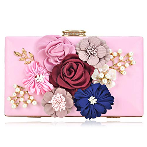 Satin Clutch Handbag Frame - Women Flower Clutches Handbags Evening Bags Prom Party Wedding Cocktail Clutch Purses with Pearls Beaded