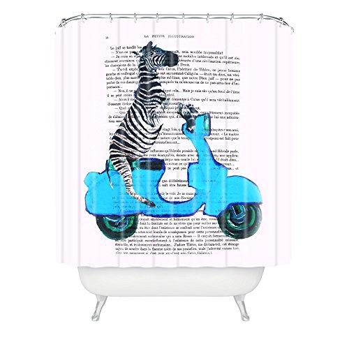 Blue Vespa Zebra Shower Curtain