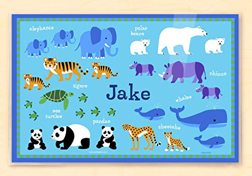 Olive Kids Personalized Endangered Animals Placemat, 18 X 12 Inches, Laminated