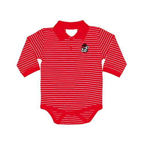 Georgia Bulldogs NCAA College Newborn Infant Baby Long Sleeve Striped Golf Creeper (0-3 Months) Red, White ()