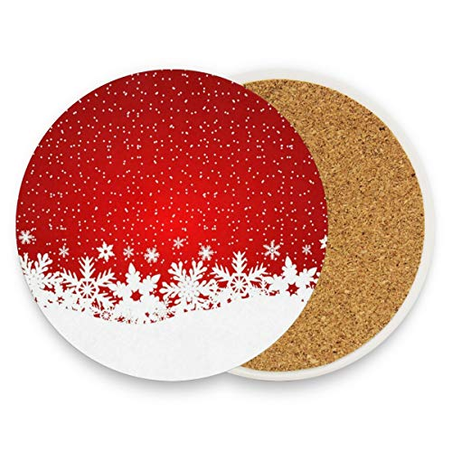 Christmas Falling Snowflakes Coasters, Protect Your Furniture From Stains,Coffee, Cork Coasters Funny Housewarming Gift,Round Cup Mat Pad For Home, Kitchen Or Bar Set Of 4 ()