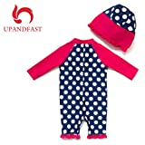 upandfast Kids One Piece Zip Sunsuit with Sun Hat