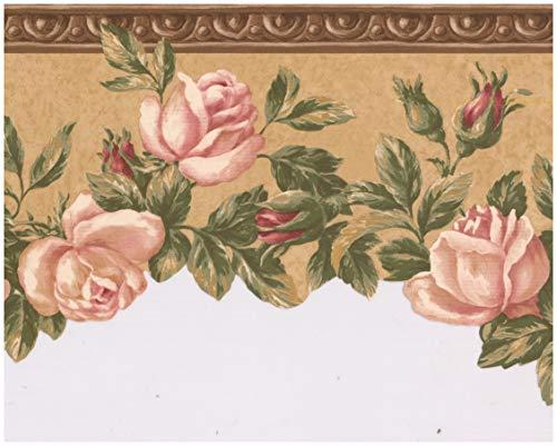 Prepasted Wallpaper Border - Bloomed Roses on Vine Scalloped Brown Wall Border Retro Design, Roll 15 ft. x 9 ()