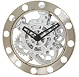 Kikkerland Gear Wall Clock, Nickel/White