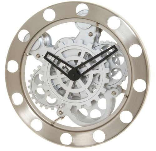 Amazon Com Kikkerland Gear Wall Clock Nickel White Home